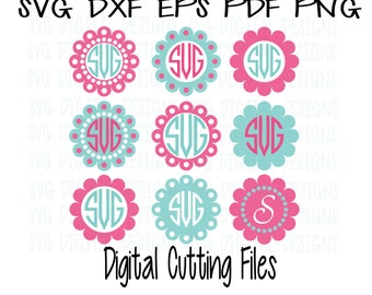 SVG Monogram Frames Svg Dxf Eps Png Digital Cutting Files for Silhouette Cricut &More - Circle Monogram Svg Files Great for diy vinyl crafts