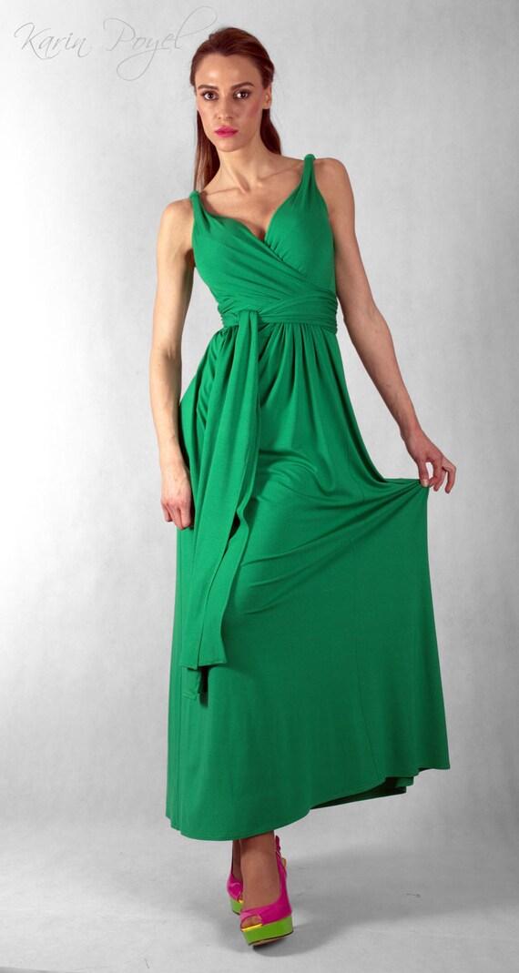 Green Bridesmaid Evening Dress / Sheath Stretch Dress / Green Dress / Wedding Sleeveless Dress / KARIN # 12-036-01-558-00