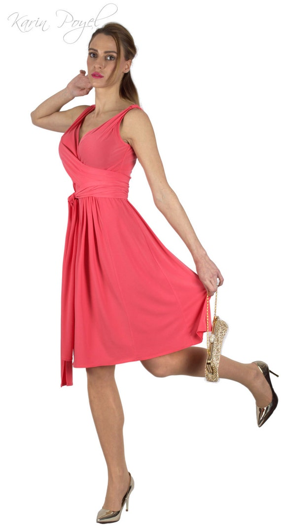 Salmon Pink Bridesmaid Dress /  Stretch Cocktail Dress / Salmon Evening Dress / Sleeveless  Dress / KARIN # 12-037-01-388-00