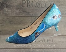 Custom Frozen decoupage and glitter shoes. Any style, size or colour. Wedding shoes, prom shoes, custom glitter shoes made to order