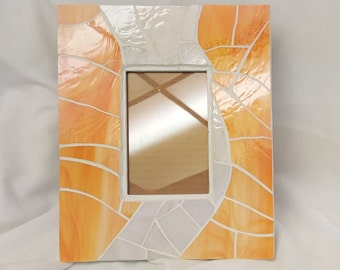 "Photo Frame - Glass Mosaic 4x6 Peach, Coral and Light Pink  11 1/2"" X 9 1/2"" x 1/2 """