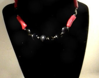 Red Coral and Black Onyx Beaded Choker