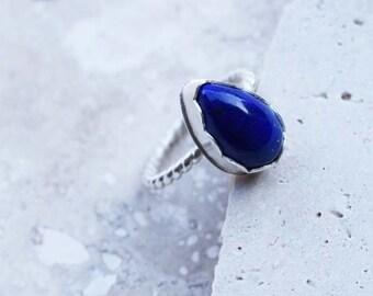 lapis ring, sterling silver ring, teardrop ring, blue stone ring, lapis lazuli ring, lapis gemstone ring, blue gemstone ring
