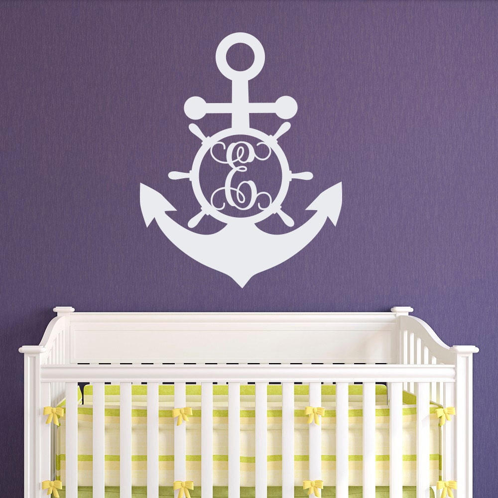 Anchor Initial Wall Decal Personalized Monogram Stickers - Monogram wall decal for kids