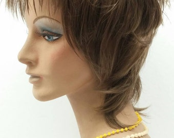 Light Brown Rod Stewart Style Wig. Rocker Wig. [10-59-Rod-12]