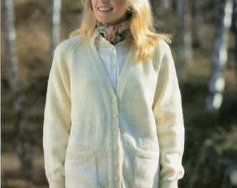 Ladies Cardigan Knitting Pattern - Classic Long Length - 4ply DK Chunky and Aran