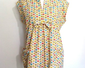 70's smock top, L, XL, cotton top, summer top. cotton tunic, tunic, bow front top, cotton smock top, repeat print top, cute top