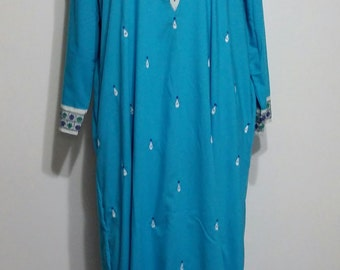 Blue caftan, XS, S, M, L, XL,  turquoise caftan, boho caftan, embroidered caftan, Indian caftan, kaftan, caftan