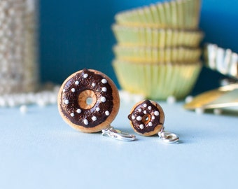 Donut Charm with Chocolate Icing + White Sprinkles