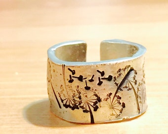 Customized Ring Cuff Hand Stamped Adjustable Organic Pewter Ring