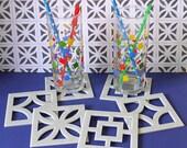Mid Century Breezeblock Coasters - laser cut acrylic drinks coasters - Kitsch Retro - Concrete Grey