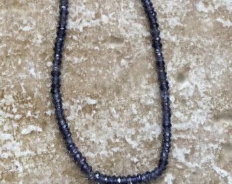 Faceted Iolite Beads - Teeny Tiny faceted rondelle Genuine Iolite Beads - 1.5x2.5mm, HALF strand of beads - G860