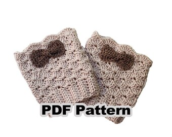 CROCHET PATTERN, Leg Warmers with Bow #26, Step by step instructions with clear detailed description and exellent images