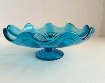 "Vintage VIKING GLASS ""Bluenique"" Pedestal Dish Stretched Petal Compote"