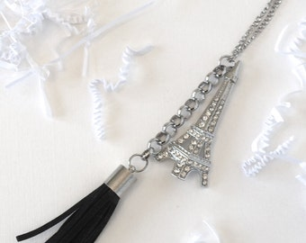 Stunning Clear Crystal Eiffel Tower with a Contemporary Black Leather Tassel Necklace