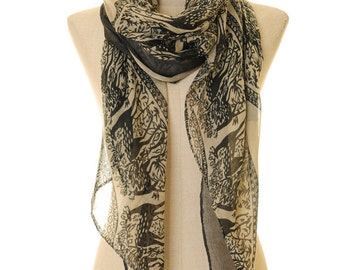 Bambi Scarf | Deer Scarf | Infinity Scarf | Black White Scarf | Christmas Scarf | Light Shawl | Neck Scarf | Rectangle Scarf S-15