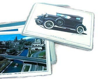 Stack of Vintage Car and City Themed Laminated Placemats - 24 Count