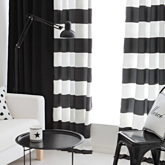 Black And White Striped Semi Blackout Curtains With By Enapremium