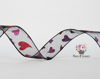 "1.5"" Heart Wired Ribbon - Black Sheer 4 Yards of Ribbon"