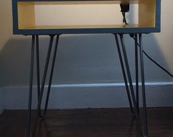 Midcentury nightstand; hairpin legs; fingerjoin woodwork