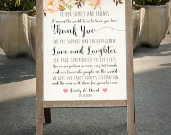 Printable THANK YOU wedding sign customized Floral wedding poster outdoor decor DIY wedding welcome wedding decoration digital files - pf-18
