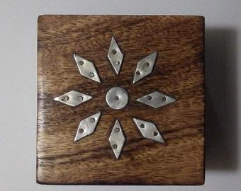 Trinket Box Little Wood Jewelry Box Vintage Stash Box