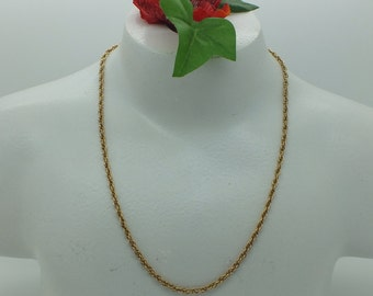 "Fantastic Vintage Gold Plated Rope Chain 31.75"" Long Necklace"