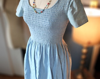 Vintage Dress Casual Country Faded Denim Smock Top Dress Maxi below the Knee Full Skirted Round Neck Summer Office Dress size Small - Medium