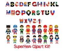 Superhero ClipArt Kit - Alphabet - Superhero Characters - Digital Paper - Icons - Great for invitations, decorations,