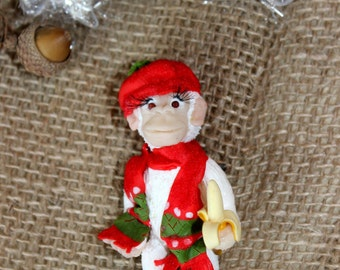 Christmas present for friend, polymer clay monkey brooch, Christmas brooch, winter gifr for child, Jewelry gift