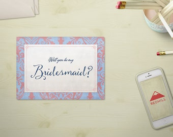 Will you be my bridesmaid?  - tarjeta anuncio de boda moderna damasco, invitación madrina / dama de honor, fiesta de boda, descarga digital