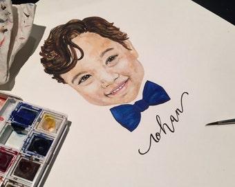Heirloom Watercolor Portrait - Little Boy with Bow Tie