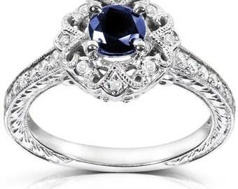 24 HR SALE! Sapphire Ring, Diamond Ring, 14K White Gold Ring, Anniversary Ring, Promise Ring, Fashion Ring, Engagement Ring, Vintage Ring