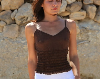 Brown boho organic cotton summer top,one-size.