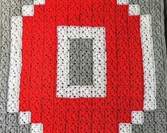 Crochet Ohio State Blanket - Customizable Handmade Block O Baby Blanket - Granny Square Baby Afghan - Ohio State Throw