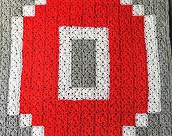 Crochet Ohio State Blanket - Customizable Handmade Block O Baby Blanket - Granny Square Baby Afghan - Ohio State Throw