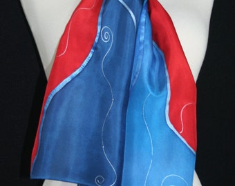 Red Silk Scarf. Blue Hand Painted Silk Shawl. Handmade Silk Scarf RIVER FLAMES. Size 8x54. Birthday, Bridesmaid Gift. Gift-Wrapped.