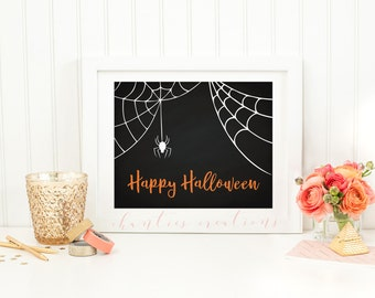 Happy Halloween Printable Wall Art. Fall Wall Decor. Spider Wall Art.
