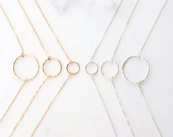 Simple Circle Necklace, Hammered Eternity Necklace, Delicate Circle Necklace in 14k Gold ,Silver By Femina Handmade //N-106