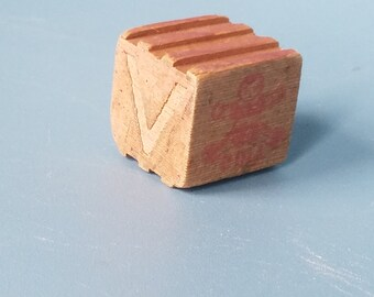 Vintage Toy Block; Wooden Toy 1950's; Letter V and C; DOLL and VASE; Ribbed Sides
