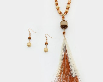 New!  Wooden Tassel Necklace and Earring Set - Free Shipping!