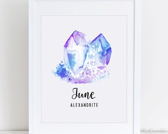 June Alexandrite Birthstone Printable, Gemstone Wall Decor, Gem Wall Art, Birthstone Printable, Digital Download, Watercolor Printable Art