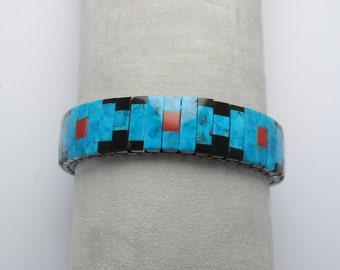 Extensible bracelet, turquoise bracelet, native american bracelet, vintage bracelet, onyx bracelet, coral bracelet, native american jewel