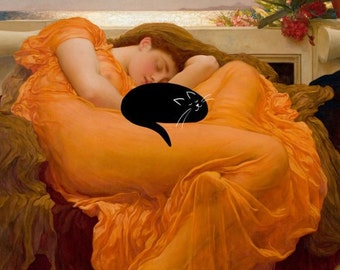 cat cards (pack of 3), black cat card, flaming june, famous painting, cat in lap, cat and woman, funny cat, cat curled up card, cat sleeping