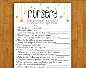 Baby Shower Game Nursery Rhyme Quiz - PINK and GOLD - Printable Digital Instant Download - Stars and Night Glitter Sparkle DIY Girl Shower