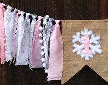 Winter ONEderland SALE, ONEderland highchair banner, Pink ONEderland, Pink Snowflake banner, Pink Snowflake birthday, ONEderland party