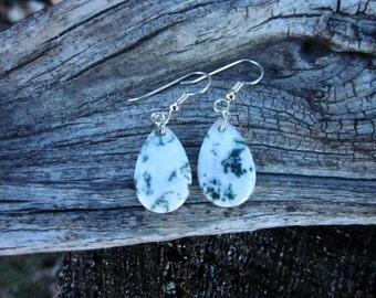 Natural Tree Agate Earrings - #77