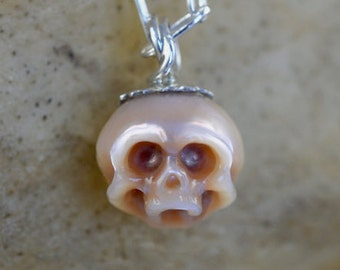 Carved Pearl Skull - Pink Pearl Necklace - Gift - Gift For Her - Skull Jewelry -Skull Pearl - Handmade Jewelry