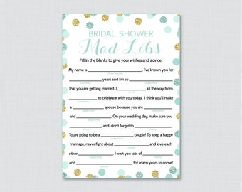 Mint and Gold Bridal Shower Mad Libs Game - Printable Mint and Gold Bridal Shower Madlibs - Gold Glitter Bridal Advice Cards 0001-M