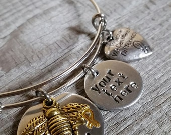 Childhood Cancer - Pediatric Cancer Jewelry - Childhood Cancer Jewelry - Cause Jewelry - Bee Aware Bracelet - Gold Ribbon Awareness Jewelry